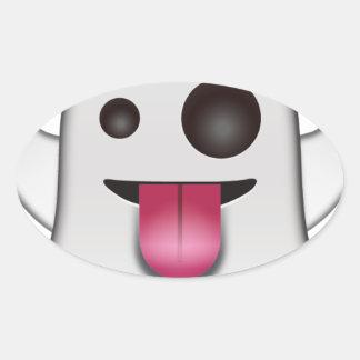 Scary Ghost Emoji Cool Fun Oval Sticker