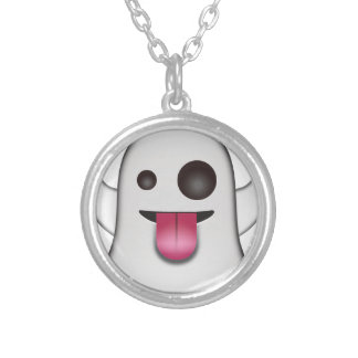 Scary Ghost Emoji Cool Fun Silver Plated Necklace