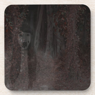 Scary Ghost In Woods Halloween Haunted House Coasters