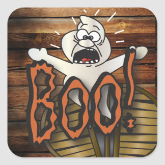 Scary Ghost Yelling Boo Square Sticker