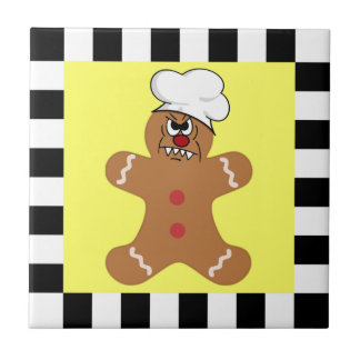 Scary Gingerbread Man Cookie Ceramic Tile