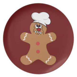 Scary Gingerbread Man Cookie Plates