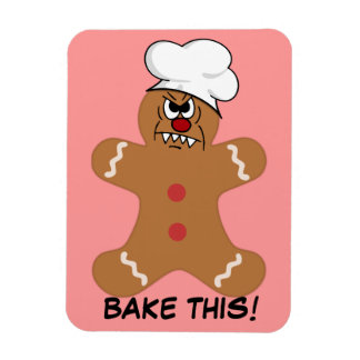 Scary Gingerbread Man Cookie Rectangular Photo Magnet