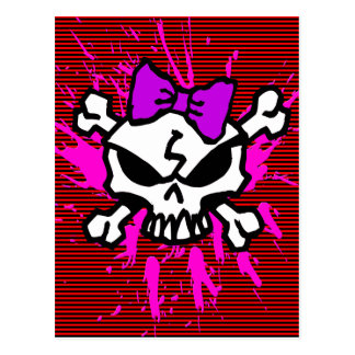 SCARY GIRL SKULL WITH SPLATTERS AND STRIPES POSTCARD