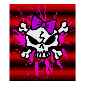 SCARY GIRL SKULL WITH SPLATTERS AND STRIPES POSTER