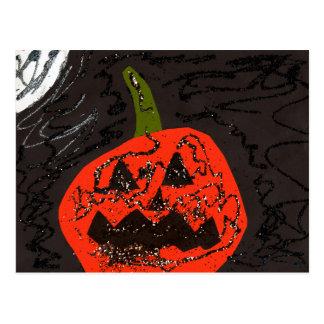 Scary Glitter Jack o' Lantern Postcard