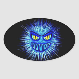 Scary Gory Ghoulish Halloween Illustration Oval Sticker