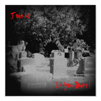 "Scary Graveyard Halloween Invitation 5.25"" Square Invitation Card"