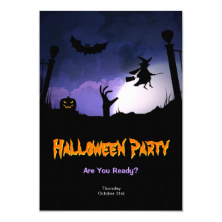 Scary Graveyard - Pumpkin Witch Halloween Party Card