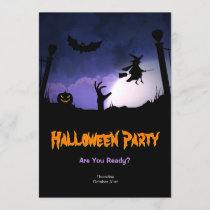 Scary Graveyard - Pumpkin Witch Halloween Party Invitation