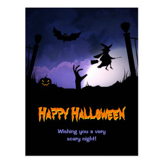 Scary Graveyard - Pumpkin Witch Happy Halloween Postcard