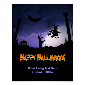 Scary Graveyard - Pumpkin Witch Happy Halloween Poster