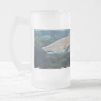 Scary Great White Shark 16 Oz Frosted Glass Beer Mug