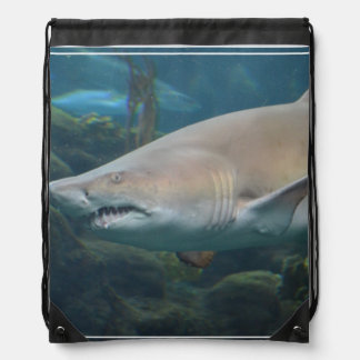 Scary Great White Shark Drawstring Backpack