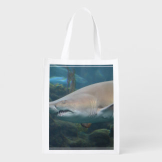 Scary Great White Shark Grocery Bags