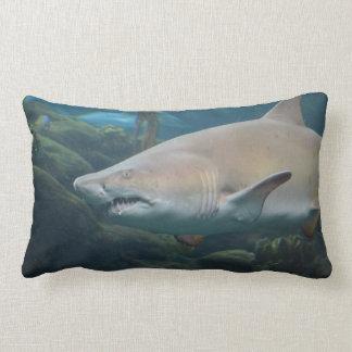 Scary Great White Shark Lumbar Pillow