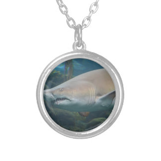 Scary Great White Shark Round Pendant Necklace