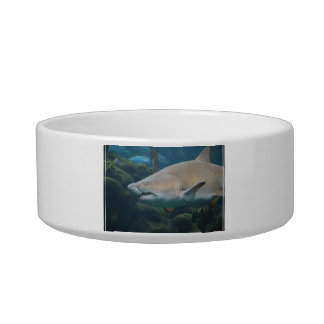 Scary Great White Shark Cat Water Bowls