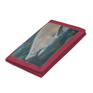 Scary Great White Shark Tri-fold Wallet