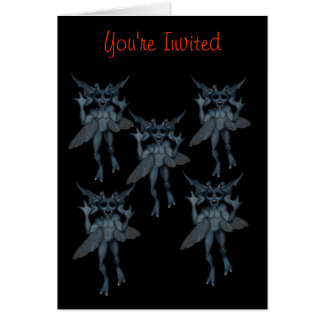 Scary Gremlins Gang Halloween Party Invitation Stationery Note Card