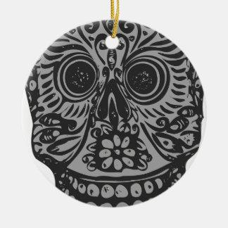 Scary Grey Sugar Skull Halloween Head Ceramic Ornament