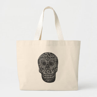 Scary Grey Sugar Skull Halloween Head Large Tote Bag