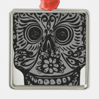 Scary Grey Sugar Skull Halloween Head Metal Ornament
