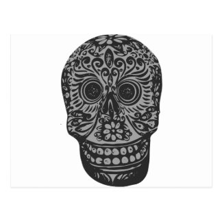 Scary Grey Sugar Skull Halloween Head Postcard