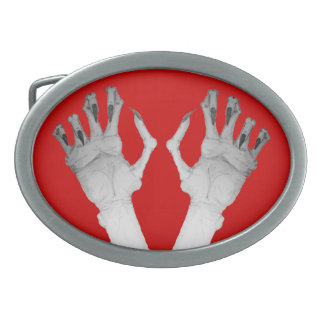 Scary gruesome monster hand with long nails art belt buckle