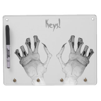 Scary gruesome monster hand with long nails art dry erase board with keychain holder
