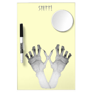 Scary gruesome monster hand with long nails art dry erase board with mirror