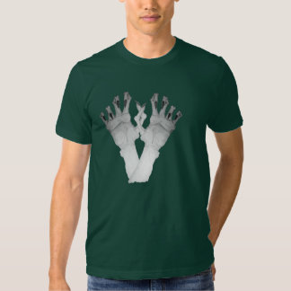 Scary gruesome monster hand with long nails art shirts