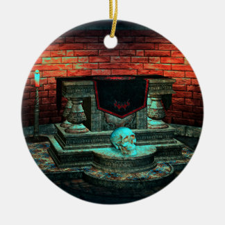 Scary hallow House Double-Sided Ceramic Round Christmas Ornament