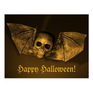 Scary Halloween Bat Skull Postcard