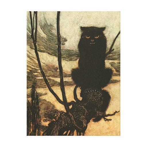 Scary Halloween Black Cat Canvas Print