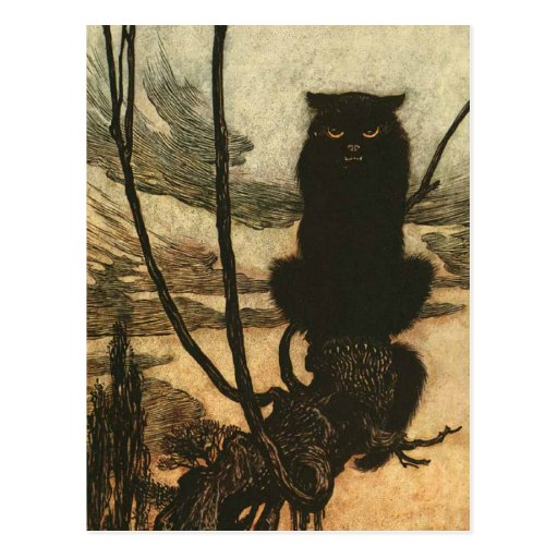 Scary Halloween Black Cat Post Cards