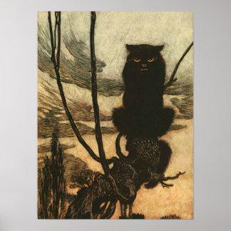 Scary Halloween Black Cat Print