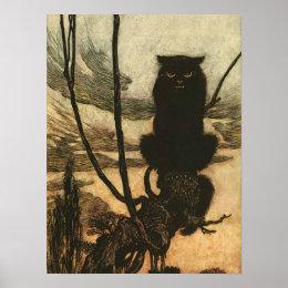 Scary Halloween Black Cat Vintage Rackham Poster