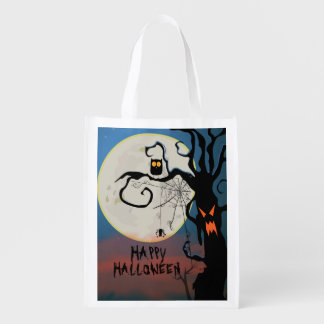 Scary Halloween Black Owl And Spider Web Grocery Bag