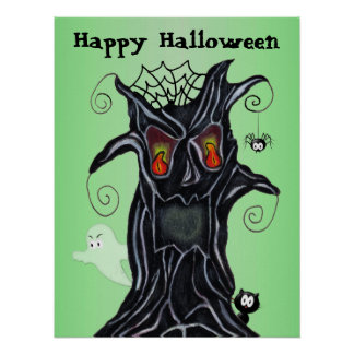 Scary Halloween Black Tree Ghost Cat Spider Poster