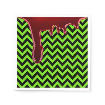 Halloween Themed Scary Halloween Bloody Chevrons Black Neon Green Paper Napkin