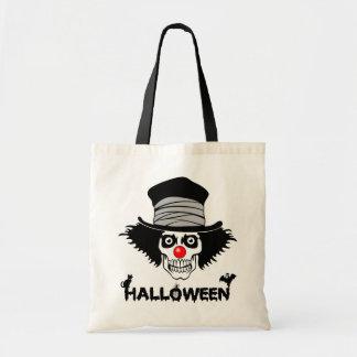 Scary Halloween Creepy Clown Skull Canvas Bag