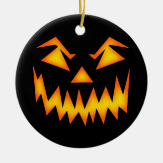 Scary Halloween Face Double-Sided Ceramic Round Christmas Ornament