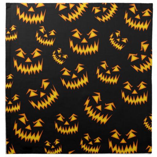Scary halloween faces cloth napkins zazzle for Halloween cloth napkins