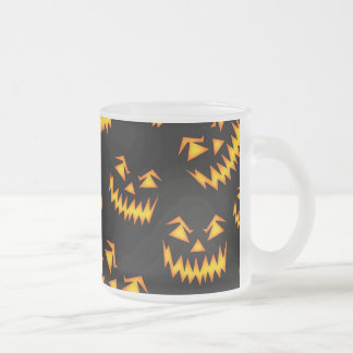 Scary Halloween Faces Frosted Glass Coffee Mug