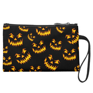 Scary Halloween Faces Suede Wristlet