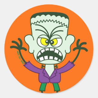 Scary Halloween Frankenstein Emoticon Classic Round Sticker