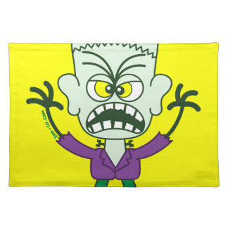 Scary Halloween Frankenstein Emoticon Place Mats