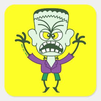 Scary Halloween Frankenstein Emoticon Square Sticker