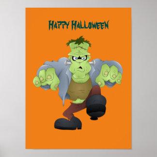 Scary Halloween Frankenstein Poster